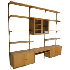 Oak Wood Wall Unit by Rud Thygesen & Johnny Soren for H.G. Møbler, Denmark,1960s