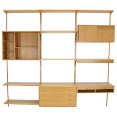 Oak Wood Wall Unit By Rud Thygesen& Johnny Soren For H.G. Møbler, Denmark, 1960s