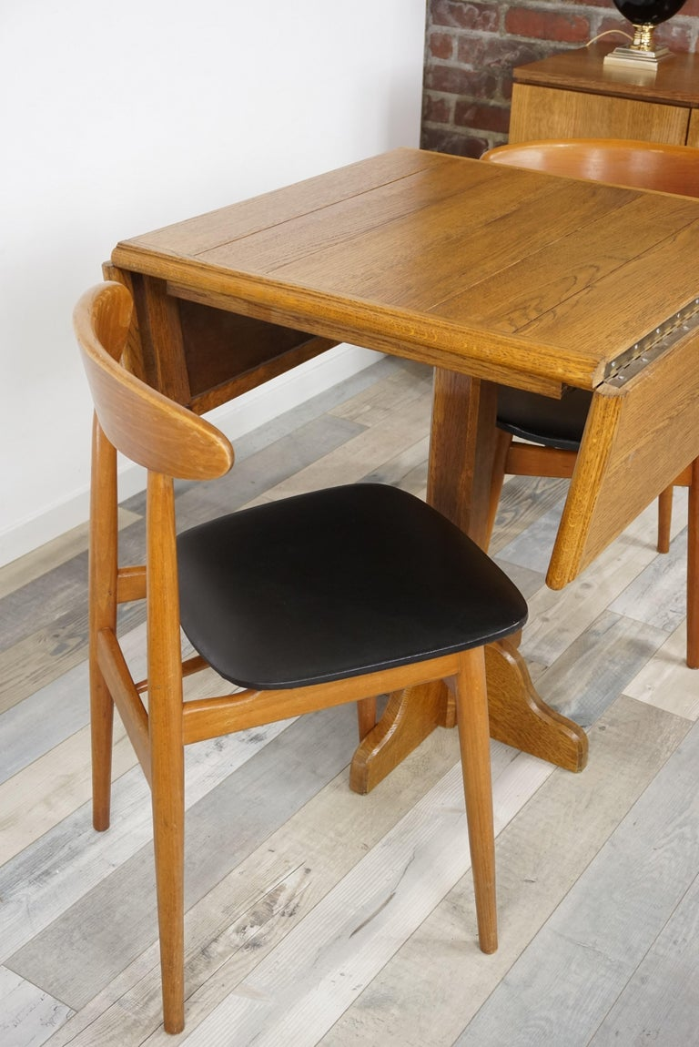 Oak Wooden 1960s French Design Folding and Dining Table For Sale 7