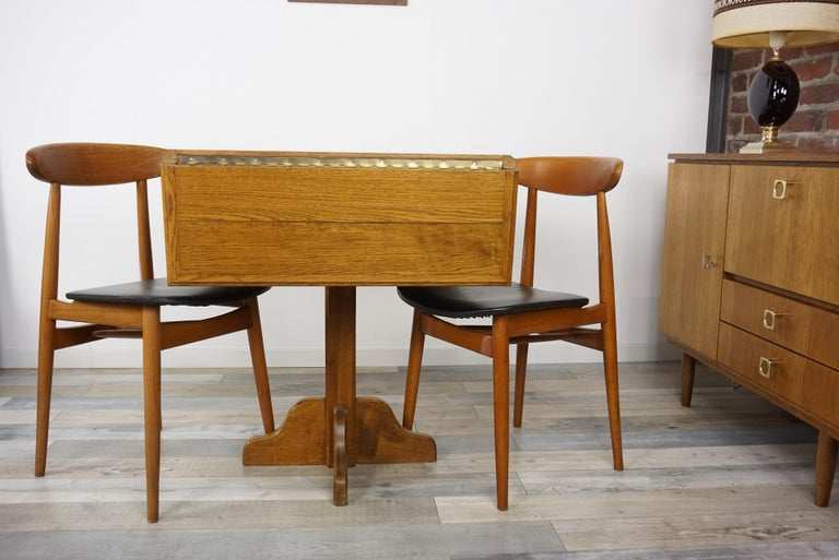 Oak Wooden 1960s French Design Folding and Dining Table For Sale 9