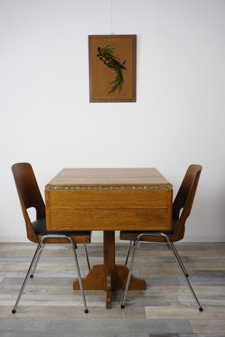 Oak Wooden 1960s French Design Folding and Dining Table For Sale 10