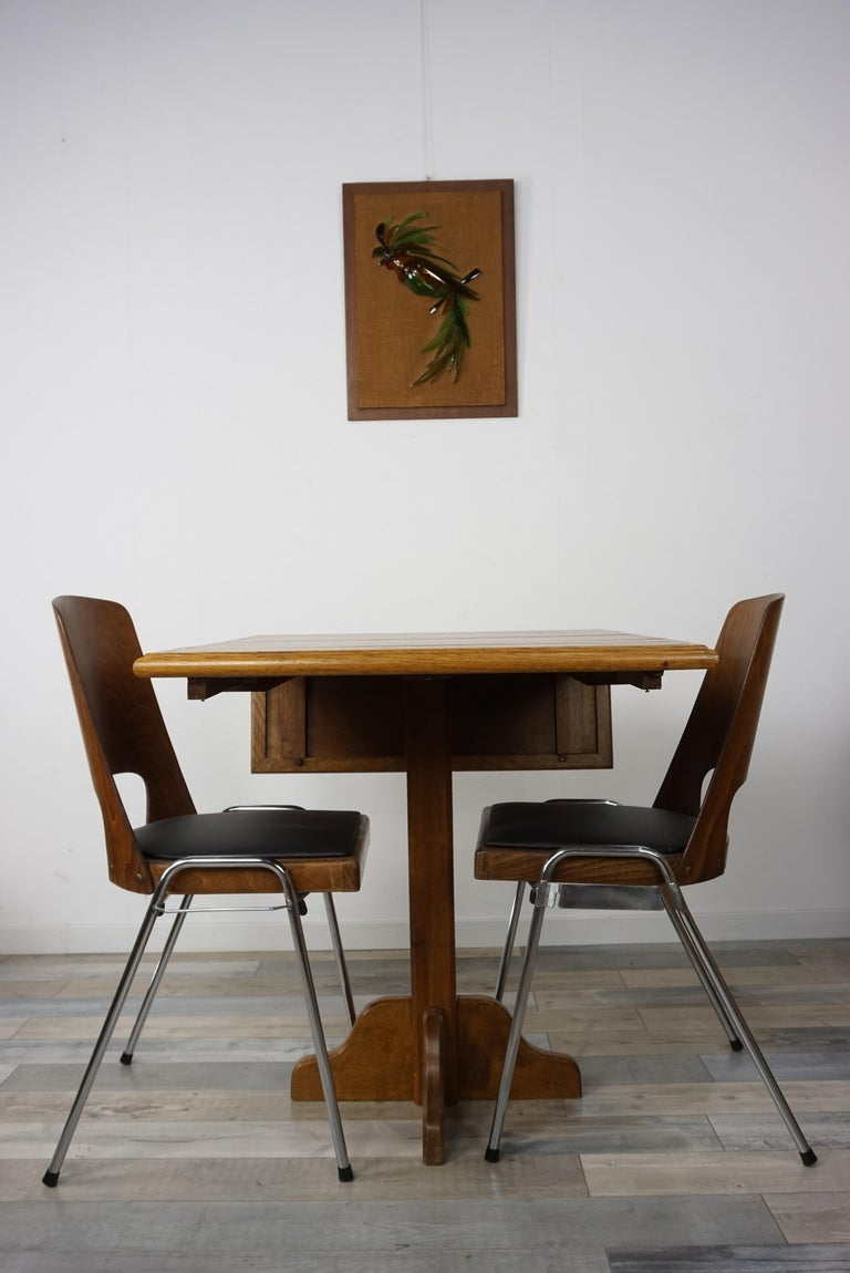 Oak Wooden 1960s French Design Folding and Dining Table For Sale 11