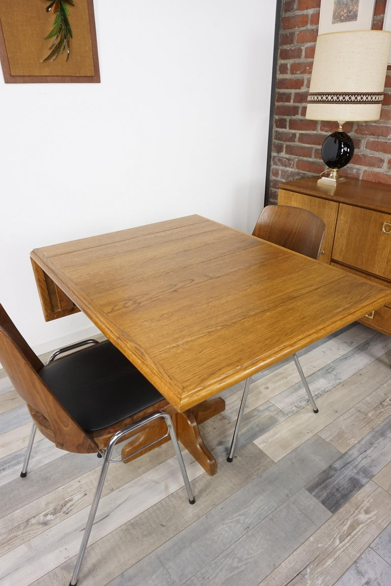 Oak Wooden 1960s French Design Folding and Dining Table For Sale 12