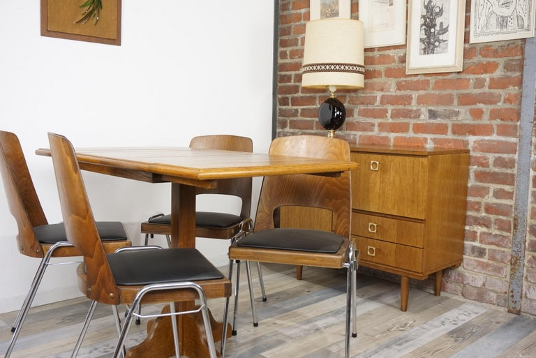 Oak Wooden 1960s French Design Folding and Dining Table For Sale 13