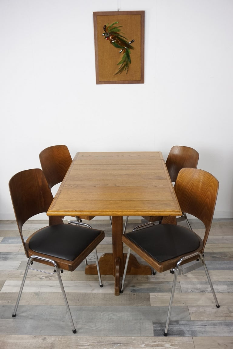 Oak Wooden 1960s French Design Folding and Dining Table For Sale 14