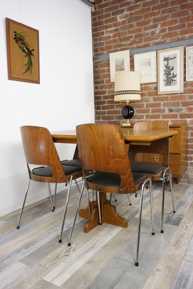 Oak Wooden 1960s French Design Folding and Dining Table For Sale 15
