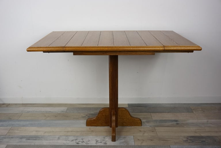 20th Century Oak Wooden 1960s French Design Folding and Dining Table For Sale