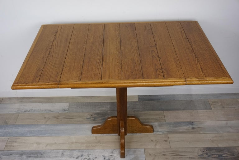 Oak Wooden 1960s French Design Folding and Dining Table For Sale 1
