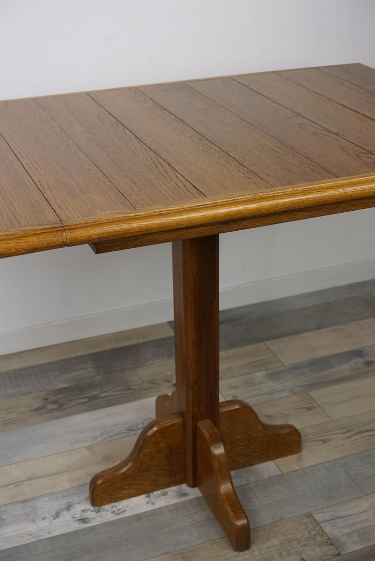 Oak Wooden 1960s French Design Folding and Dining Table For Sale 3