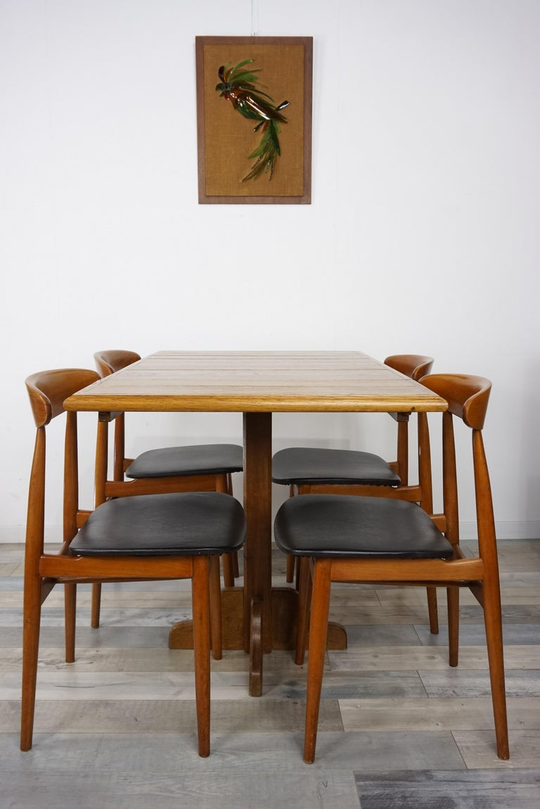 Oak Wooden 1960s French Design Folding and Dining Table For Sale 4