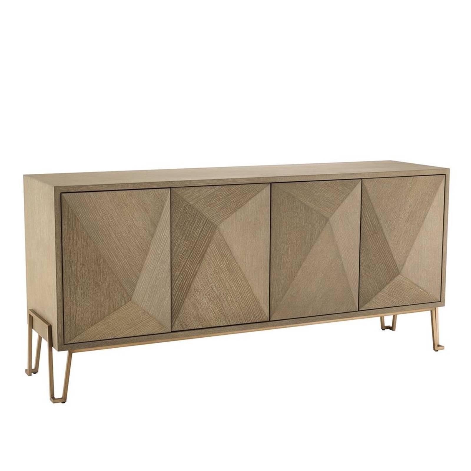 Oak Wooden and Brass Art Deco Style Sideboard