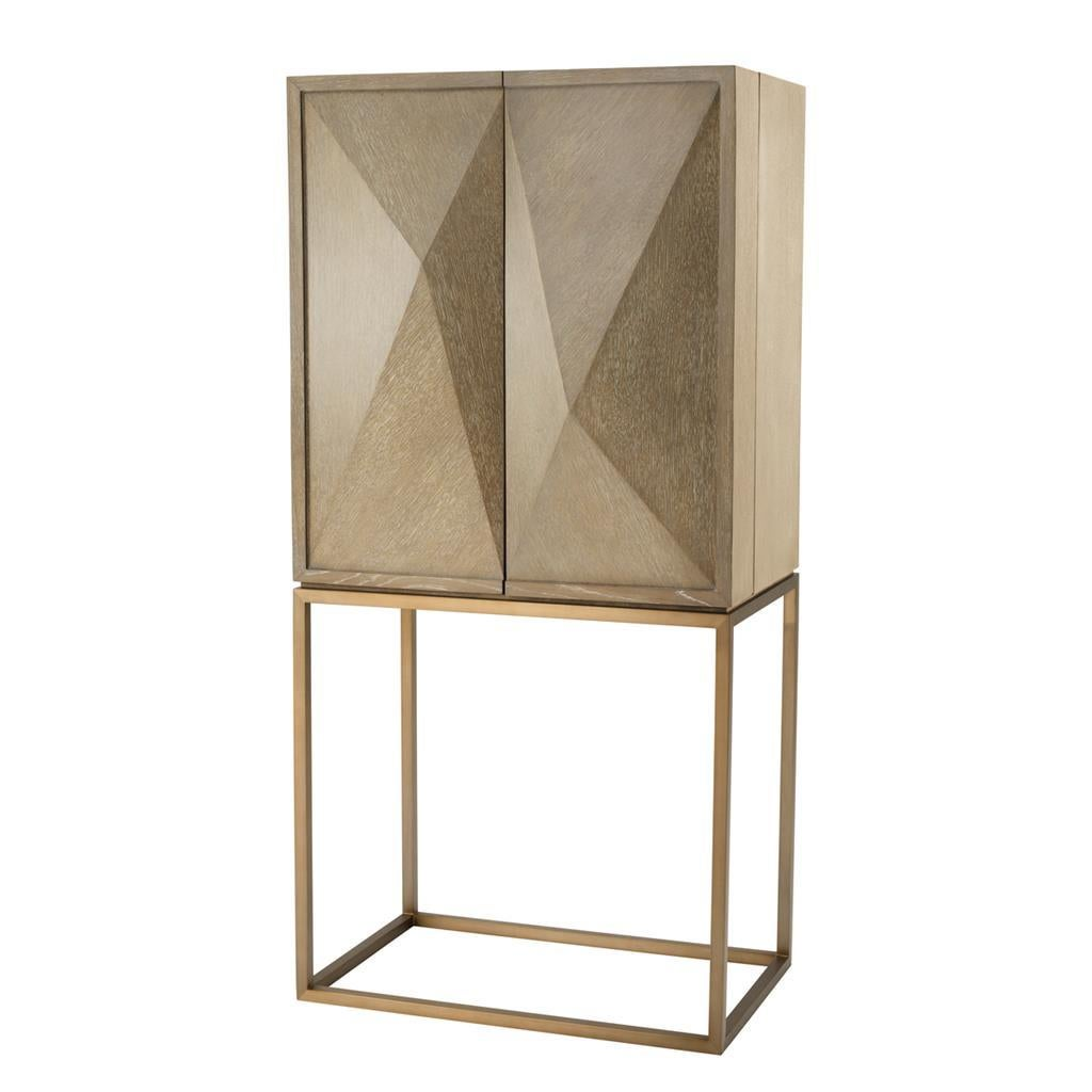 Oak Wooden and Brass Dry Bar Cabinet
