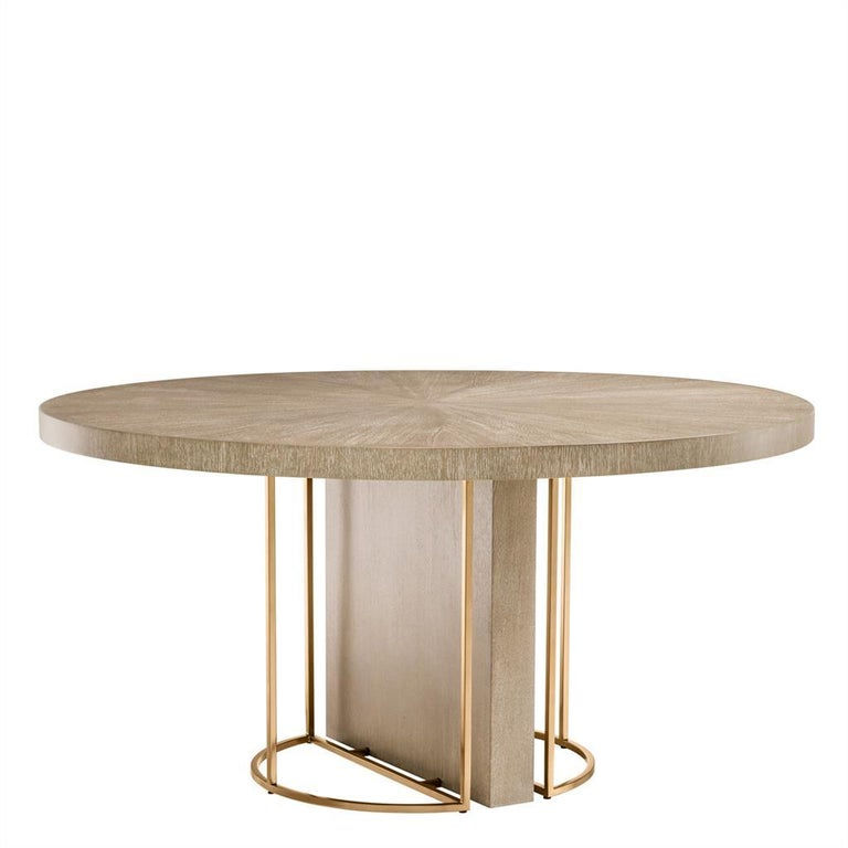 European Oak Wooden and Brass Round Dining Table For Sale