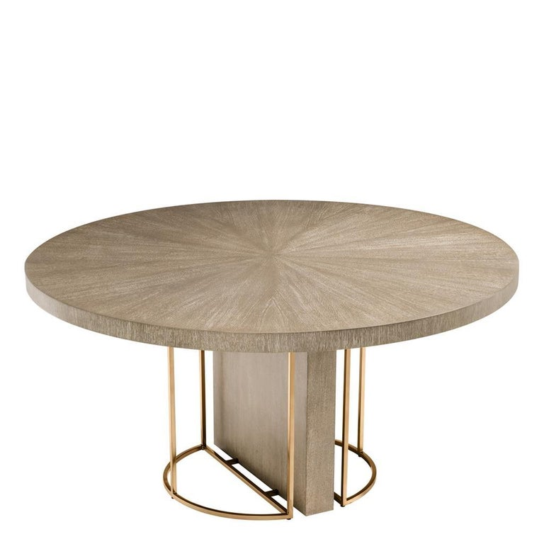 Contemporary Oak Wooden and Brass Round Dining Table For Sale