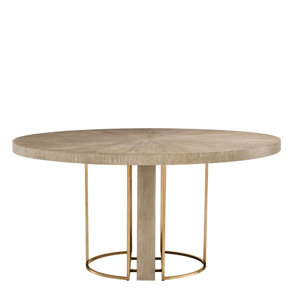 Oak Wooden and Brass Round Dining Table