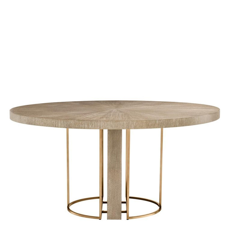 Oak Wooden and Brass Round Dining Table For Sale
