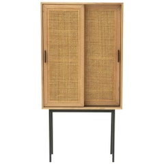 Oak Wooden and Cane Rattan 1960s Design Cabinet