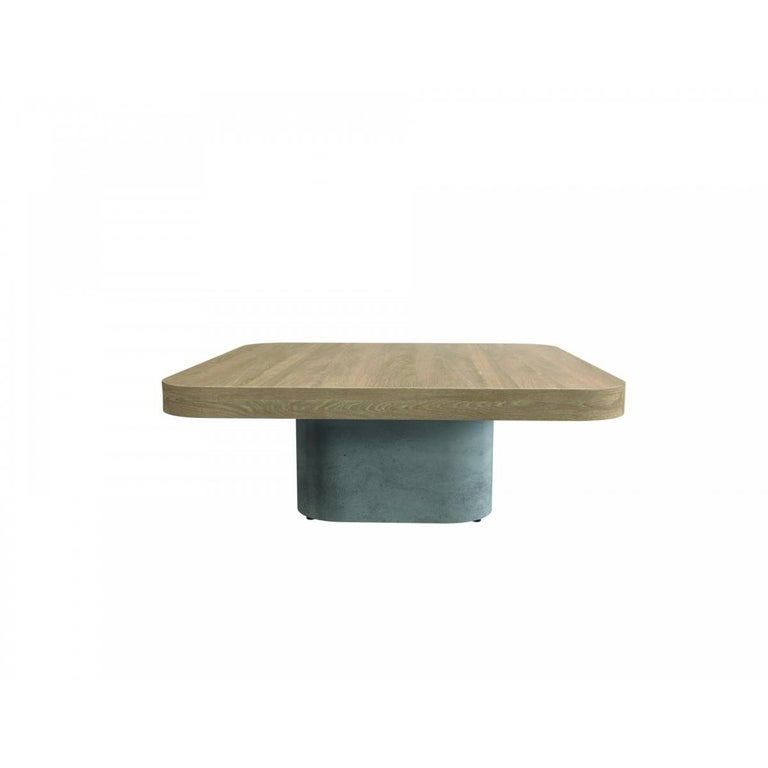 Mid-Century Modern Oak Wooden and Concrete Design Coffee Table For Sale
