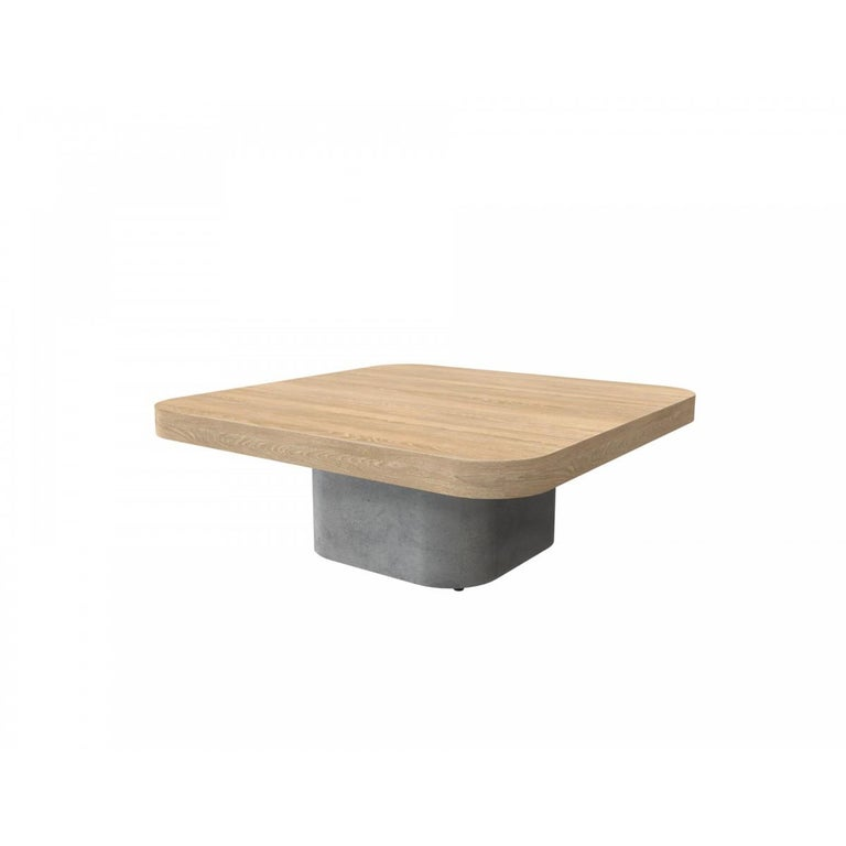 French Oak Wooden and Concrete Design Coffee Table For Sale