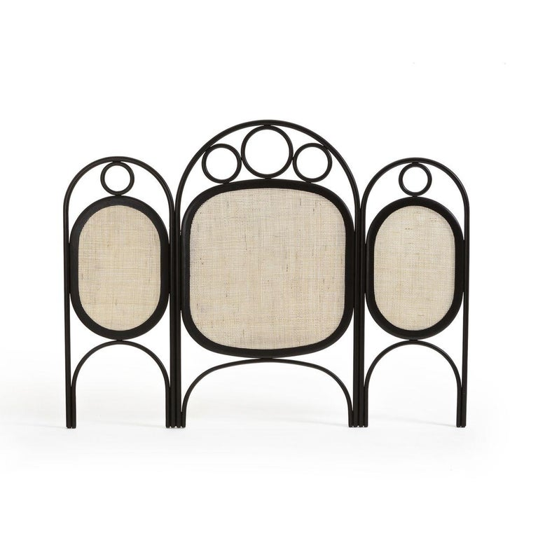 Oak wooden and wicker cane queen or king size headboard composed of a welcoming round ebonized oak and aerial structure adorned with braided cane wicker.