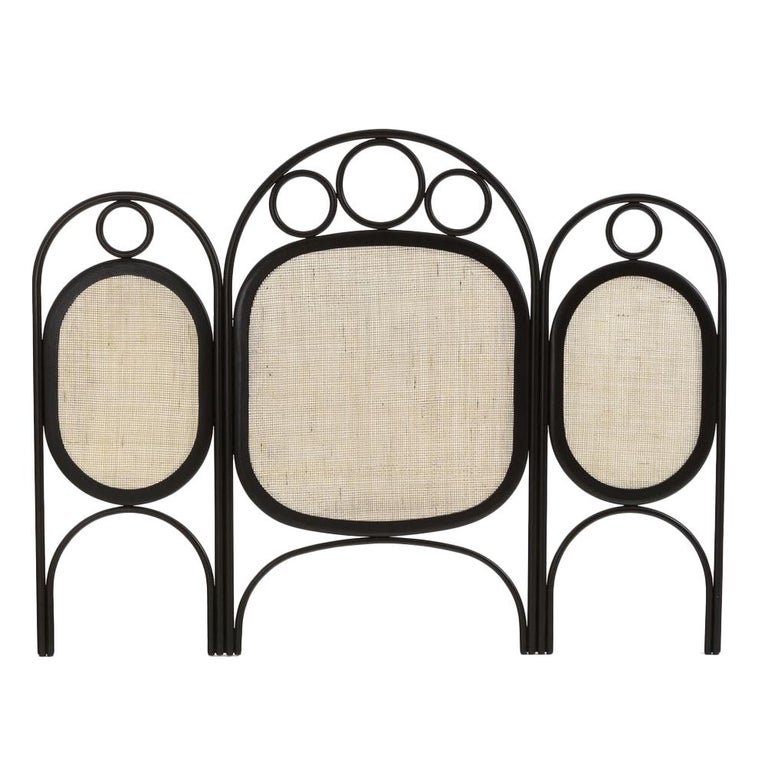 Oak Wooden and Wicker Cane Queen or King Size Headboard For Sale