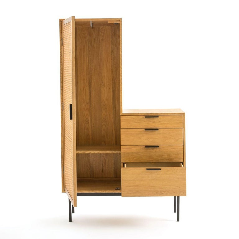 Mid-Century Modern Oak Wooden and Woven Cane Rattan 1960s Design and Asymmetrical Chest of Drawers For Sale
