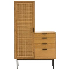 Oak Wooden and Woven Cane Rattan 1960s Design and Asymmetrical Chest of Drawers