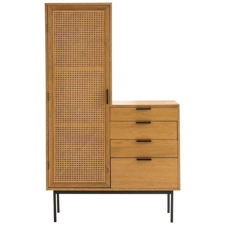 Oak Wooden and Woven Cane Rattan 1960s Design and Asymmetrical Chest of Drawers For Sale
