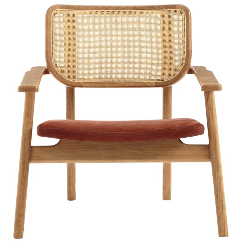 Oak Wooden Wicker Cane And Leather Armchair French Design and Midcentury Style