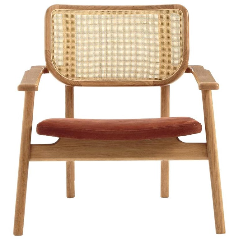 Oak Wooden Wicker Cane And Leather Armchair French Design and Midcentury Style For Sale