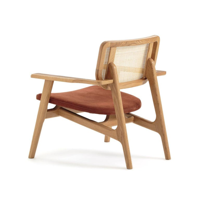 Contemporary Oak Wooden Wicker Cane And Leather Armchair French Design and Midcentury Style For Sale