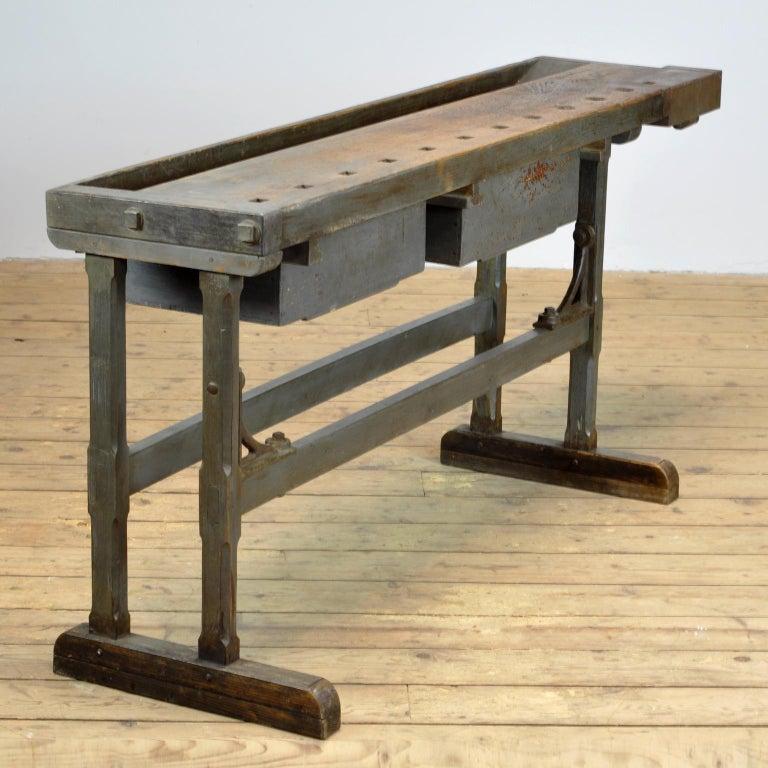 Industrial Oak Workbench, circa 1920 For Sale