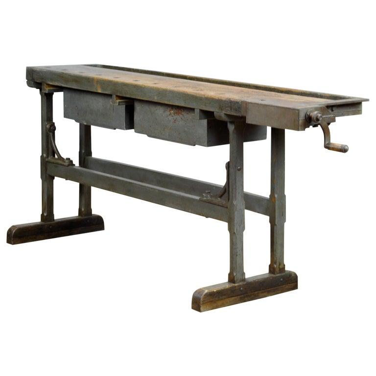 Oak Workbench, circa 1920 For Sale