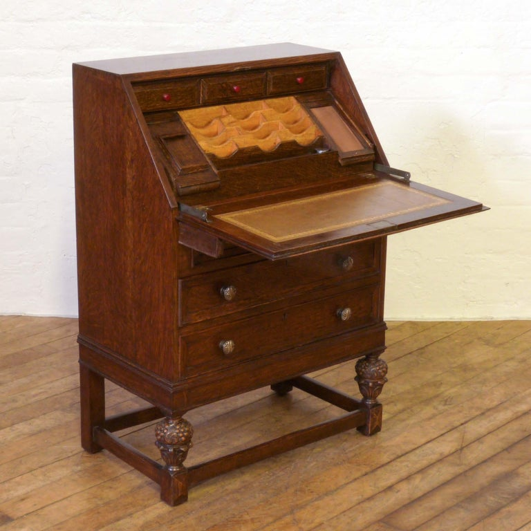 English Oak Writing Bureau For Sale