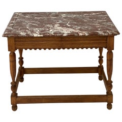 Oak, Bleached Side-Center Table with Marble Top