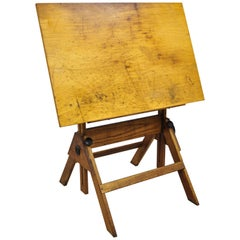 Oakwood and Cast Iron Adjustable Small Drafting Table Attributed to Hamilton