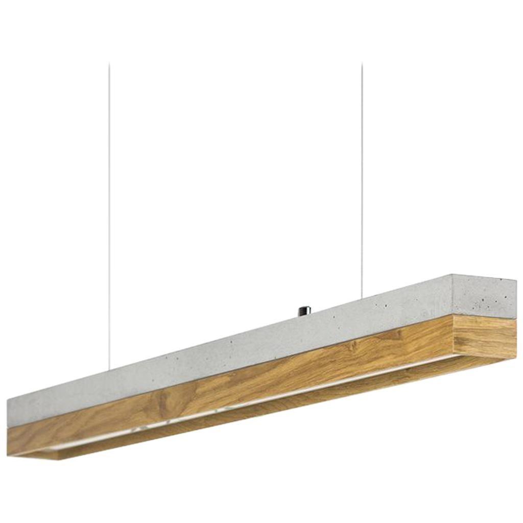 Oakwood And Grey Concrete Pendant Light, Minimalist Contemporary Table Light