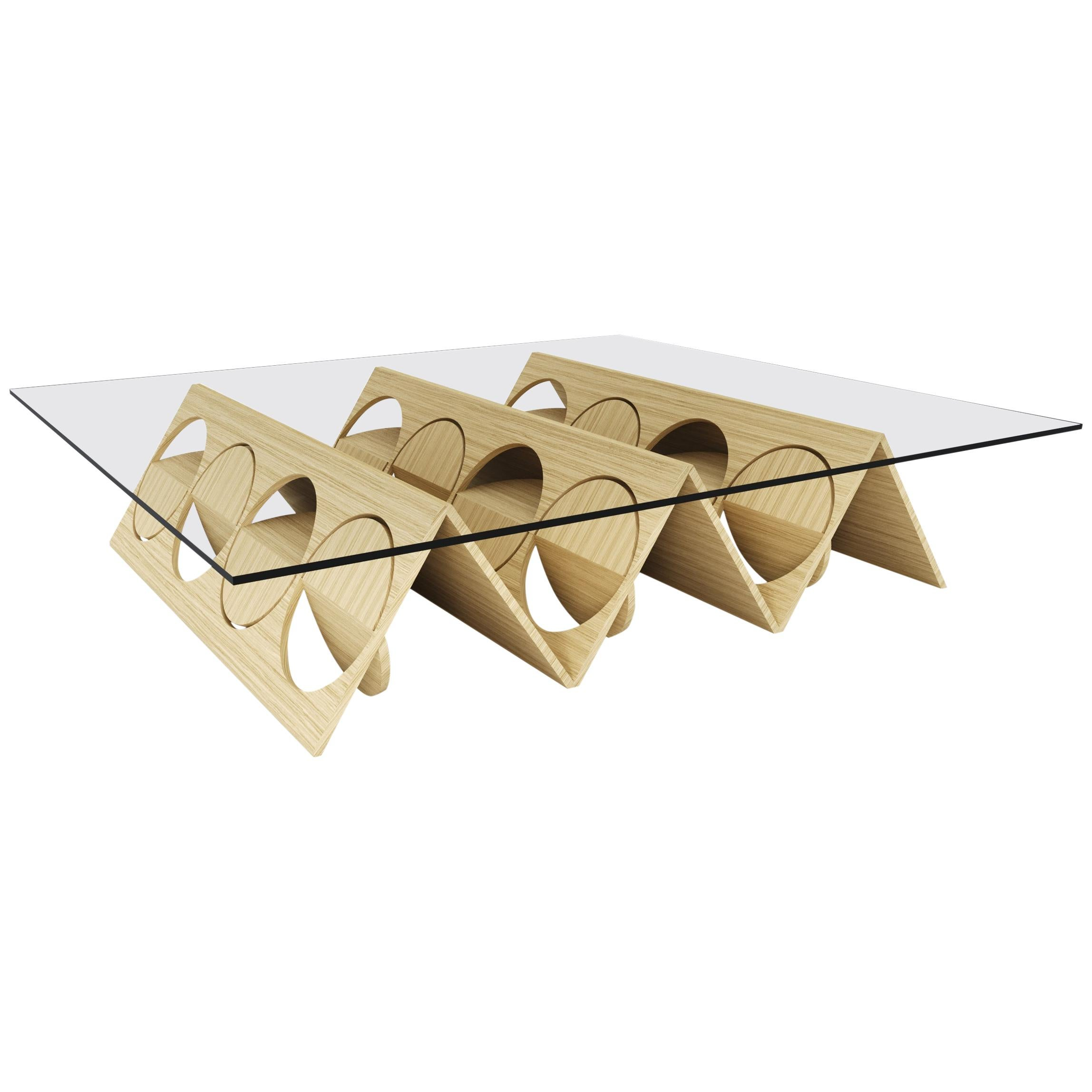 Oakwood Inverted Pyramid Coffee Table by Ana Volante Studio