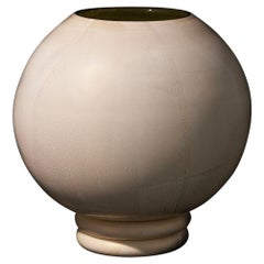 Oasi Contemporary Hand Blown Murano Glass White and Gold Leaf Vase by ErmesGlass