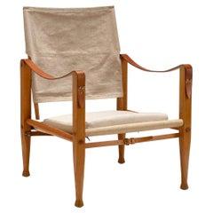 Oatmeal Linen Safari Chair by Kaare Klint, Denmark, 1950s