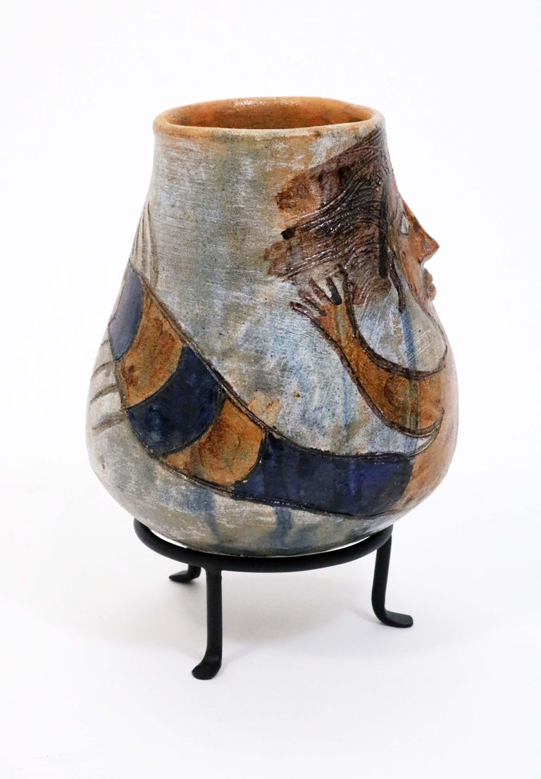 Fired Oaxacan Mermaid Pot by Dolores Porras For Sale