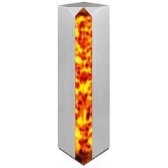 Modern Table Lamp 'Obelisk' in Stainless Steel and Tortoise Shell Effect