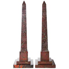 Pair of Obelisks, Red Serpentine, Cornwall England 19th Century