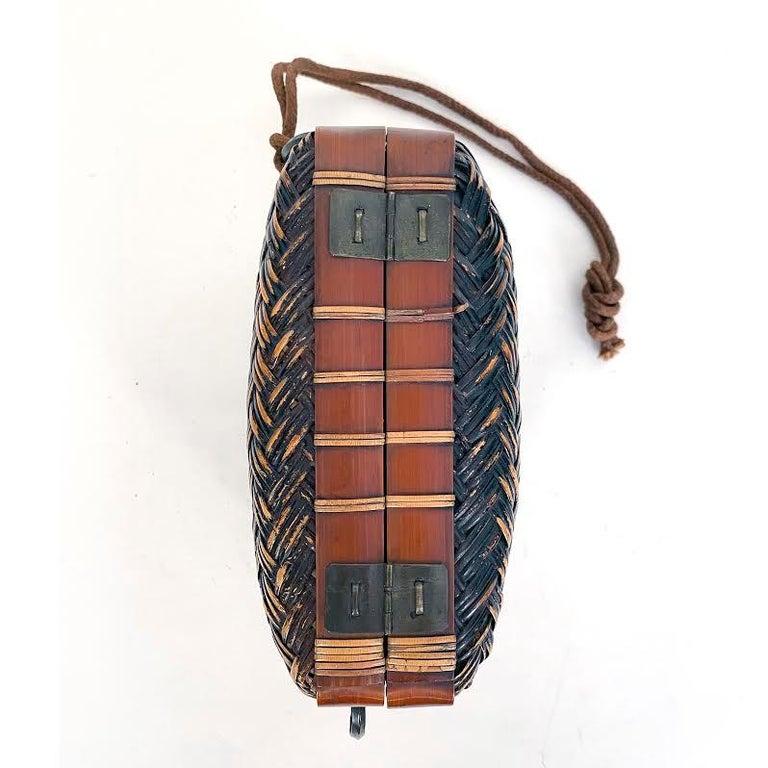 Folk Art Obento-Bako 'Lunch Box', Bamboo, Japanese, Meiji Period For Sale