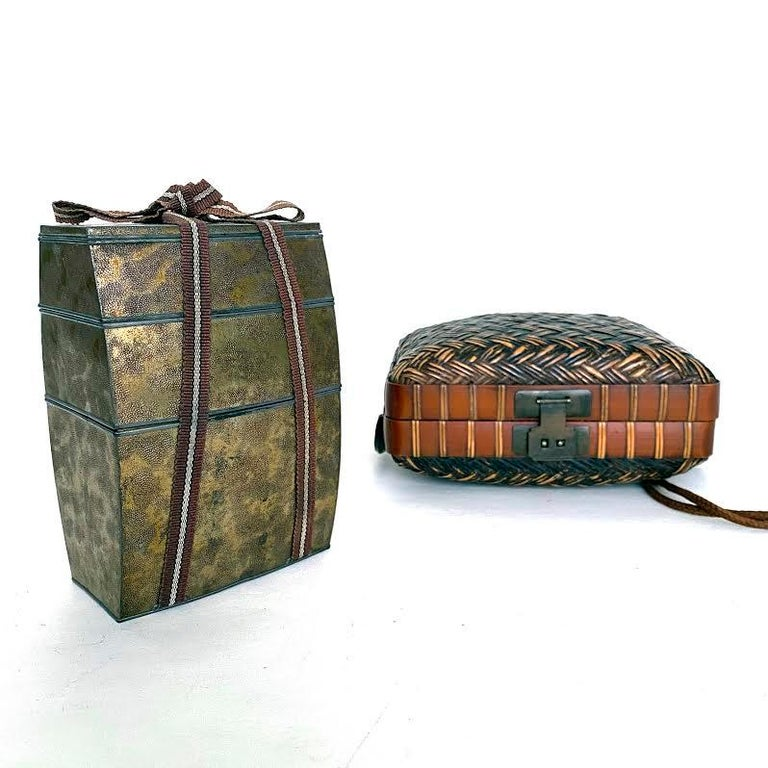 Hand-Crafted Obento-Bako 'Lunch Box', Bamboo, Japanese, Meiji Period For Sale