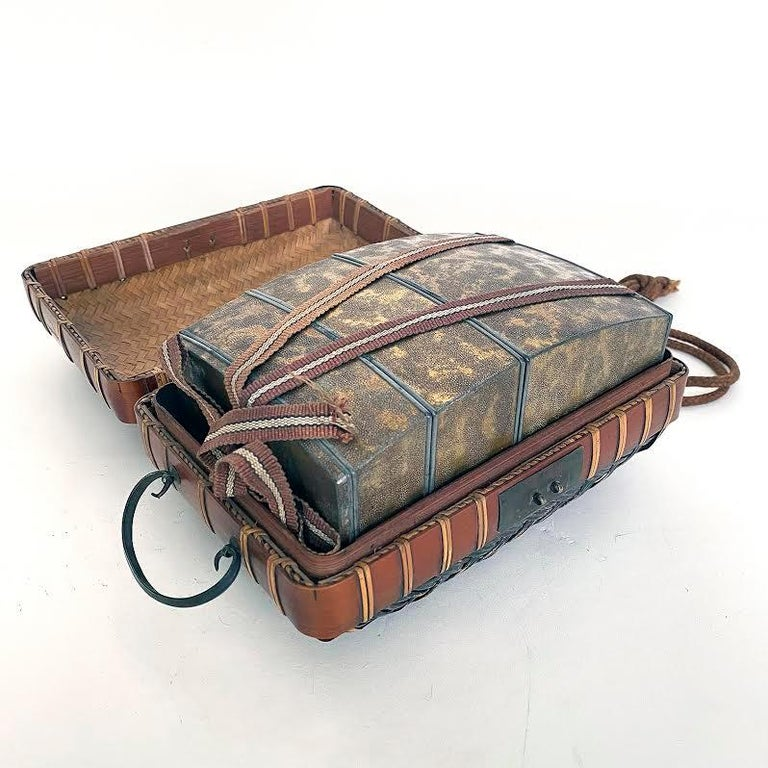 Obento-Bako 'Lunch Box', Bamboo, Japanese, Meiji Period In Good Condition For Sale In Point Richmond, CA