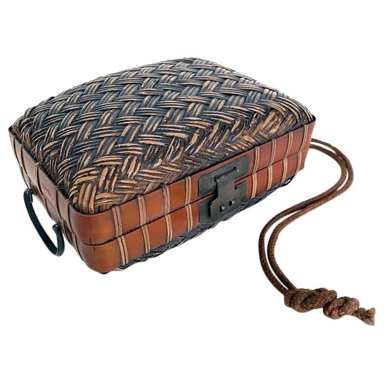 Obento-Bako 'Lunch Box', Bamboo, Japanese, Meiji Period For Sale