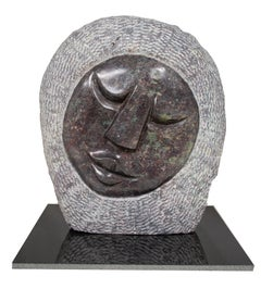 'Face' original signed cobalt stone Shona sculpture by Obert Mukumbi