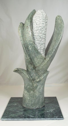 'Flower' original signed stone Shona sculpture by Obert Mukumbi