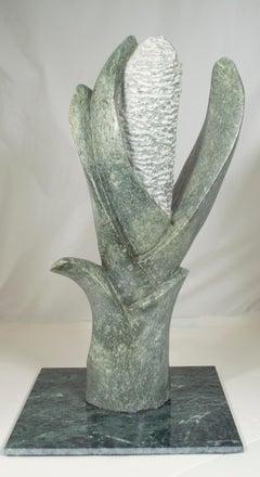 'Flower' original signed stone Shona sculpture by Obert Mukumbi